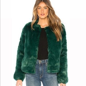 Lover & Friends Forest Green furry jacket